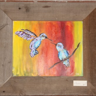 Hummingbird Valentine Painting