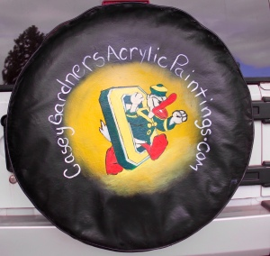 Will paint any tire cover for $200.  Can cover up an old tire cover with writing on it.
